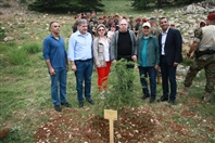 Outdoor Cedar tree in memory of the Lebanese Commandos Regiment founder Lebanon