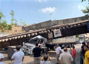 Outdoor Truck causes railway bridge collapse in Mar Mikhael Lebanon