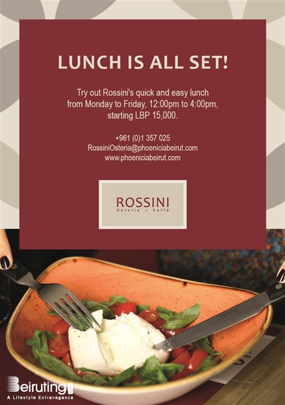 Rossini Osteria e Caffe - Phoenicia Hotel  Beirut-Downtown Social Event Lunch at Rossini Lebanon