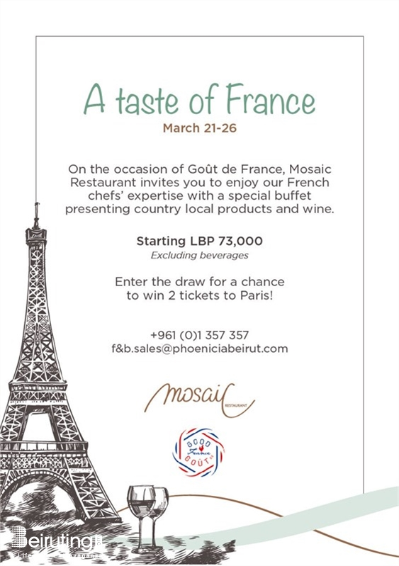 Mosaic-Phoenicia Beirut-Downtown Social Event A taste of France at Mosaic Restaurant  Lebanon