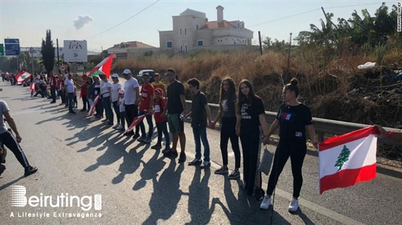 Outdoor Human Chain in Lebanon from South to North Lebanon
